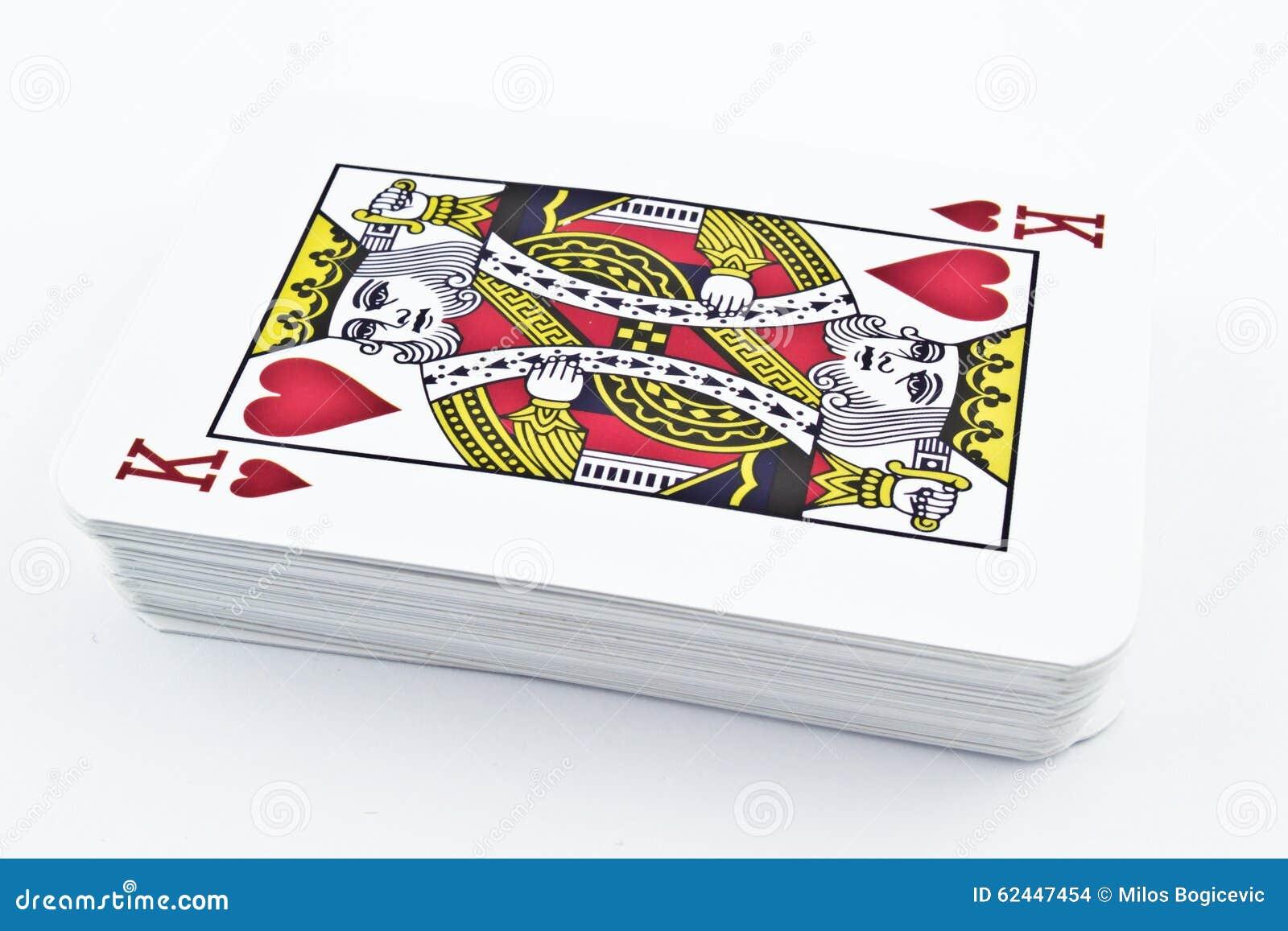 Κάρτες παιχνιδιού χαρτονιού για τα παιχνίδια καρτών - καρδιές βασιλιάδων