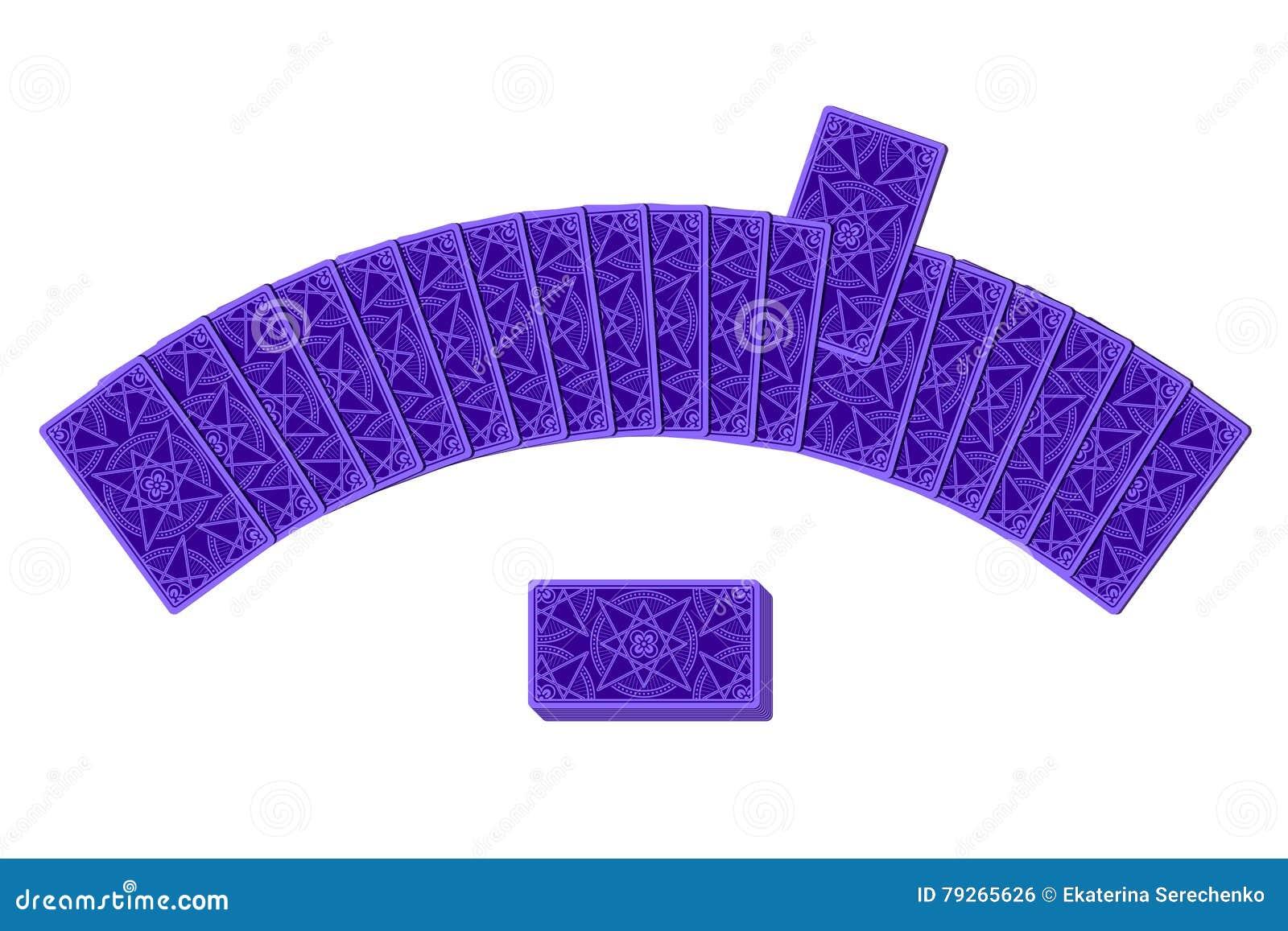 Κάρτες Tarot από την αντίστροφη πλευρά που βάζει semicircle