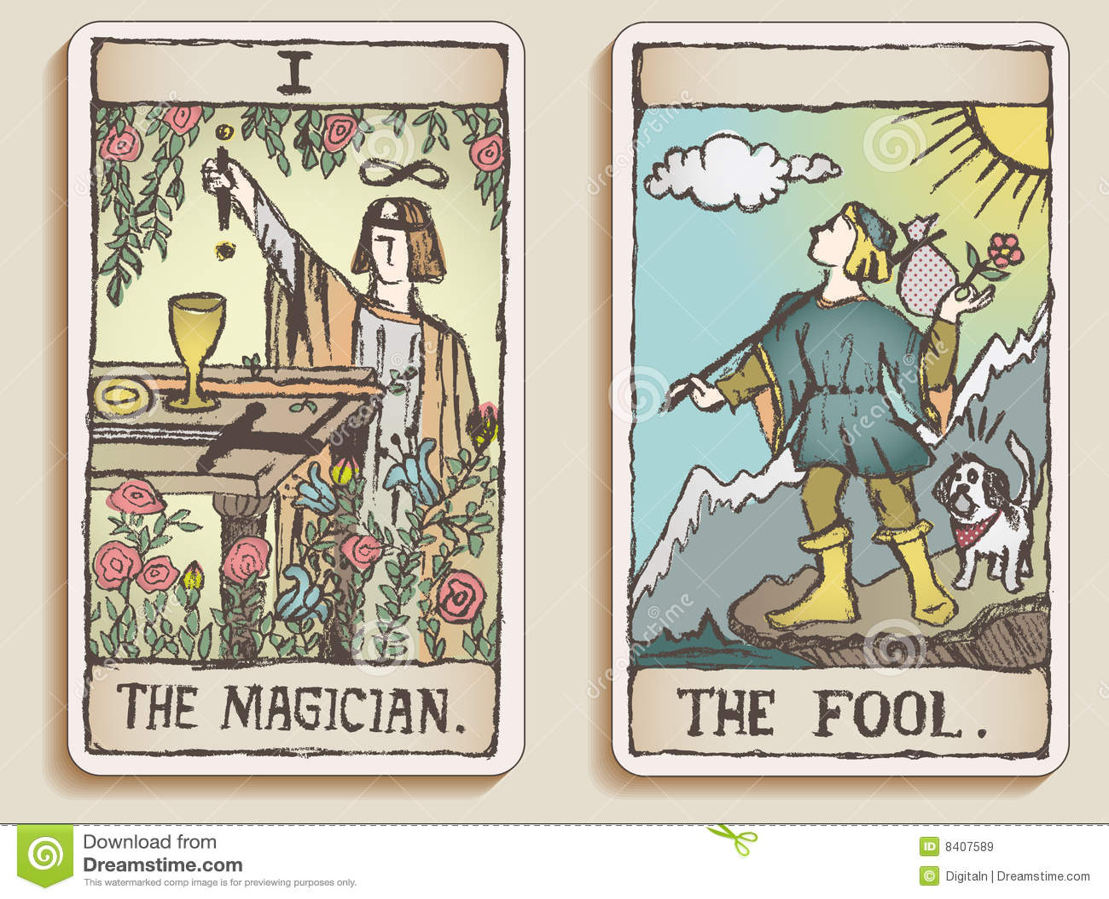 κάρτες tarot δύο
