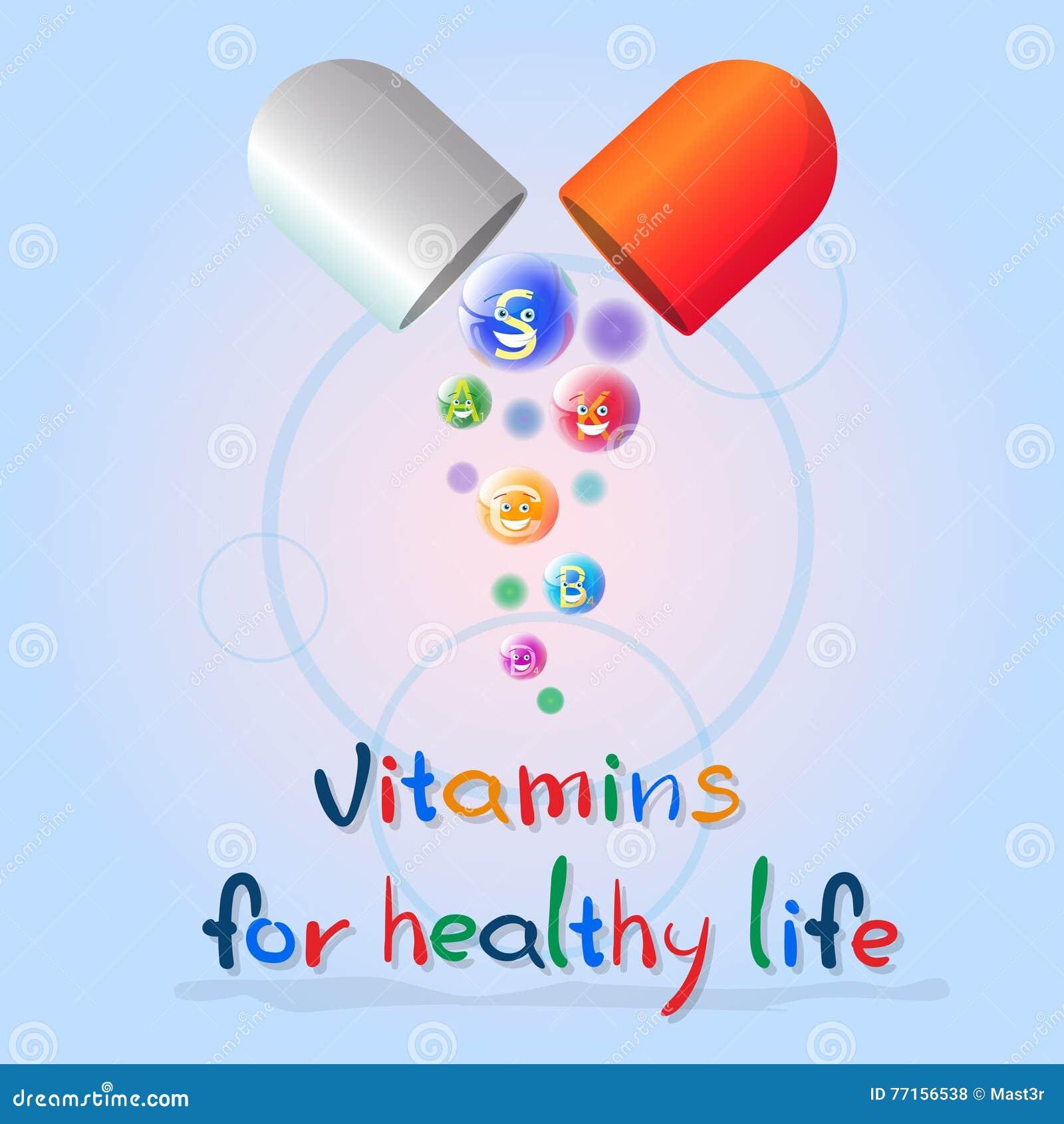 Κάψα με βιταμινών τη θρεπτική μεταλλευμάτων ζωηρόχρωμη έννοια στοιχείων χημείας διατροφής ζωής εμβλημάτων υγιή