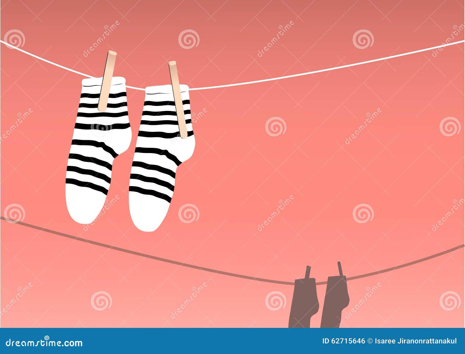 Κάλτσες που ξεραίνουν σε μια σειρά, ημέρα πλυντηρίων, απεικόνιση
