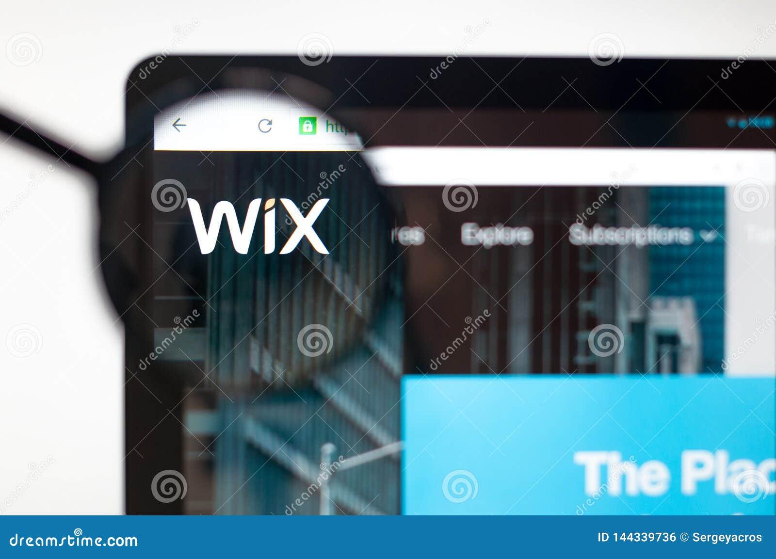 Κίεβο, Ουκρανία - 5 Απριλίου 2019: Αρχική σελίδα ιστοχώρου Wix Λογότυπο Wix ορατό