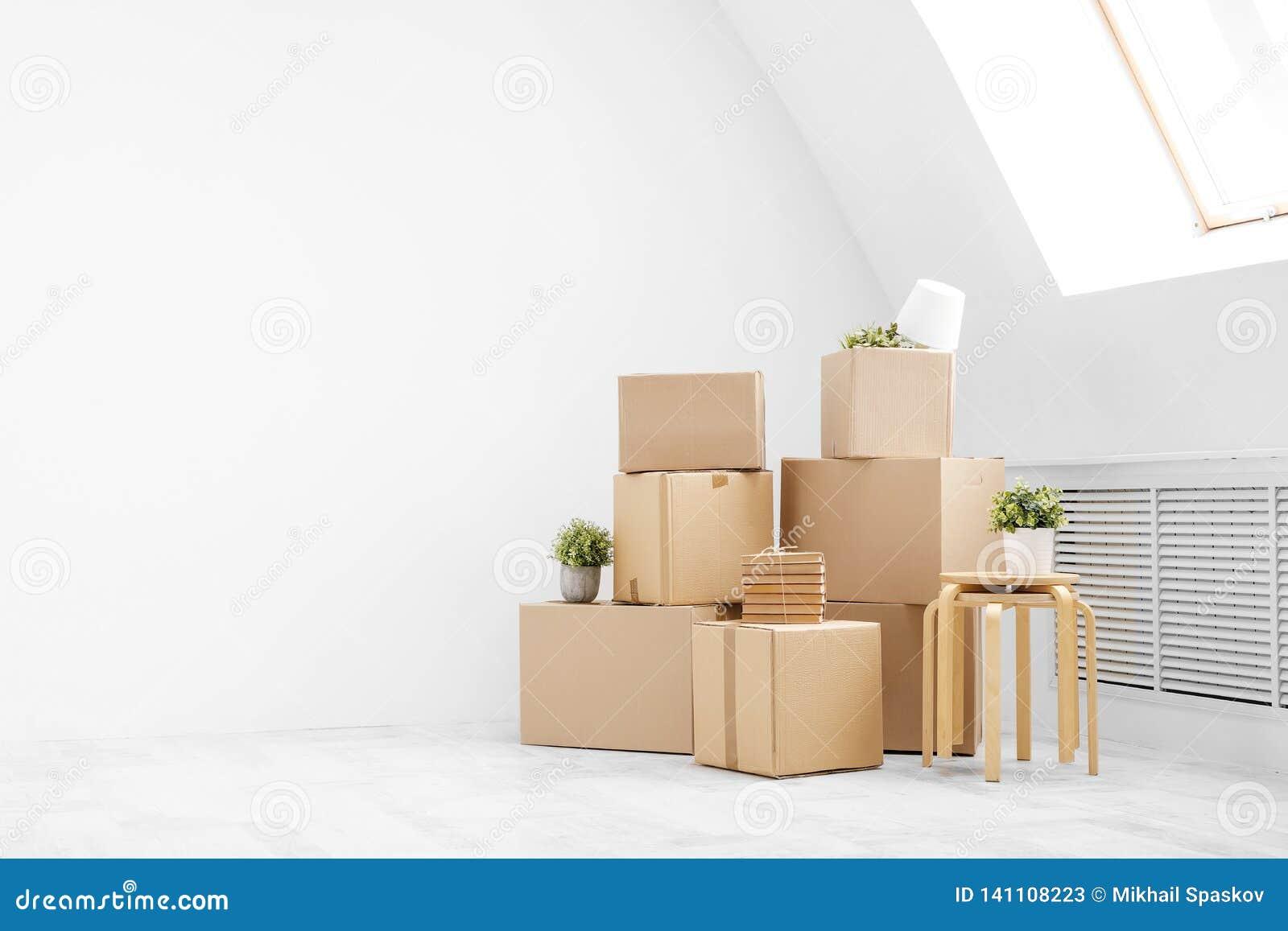 Κίνηση προς ένα νέο σπίτι Οι περιουσίες στα κουτιά από χαρτόνι, τις βίβλους και τις πράσινες εγκαταστάσεις στα δοχεία στέκονται σ