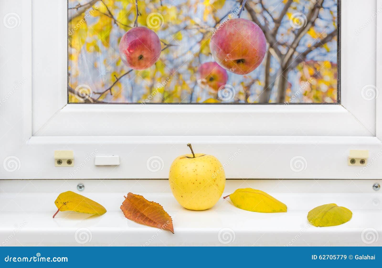 Κίτρινα φύλλα μήλων και φθινοπώρου σε ένα windowsill