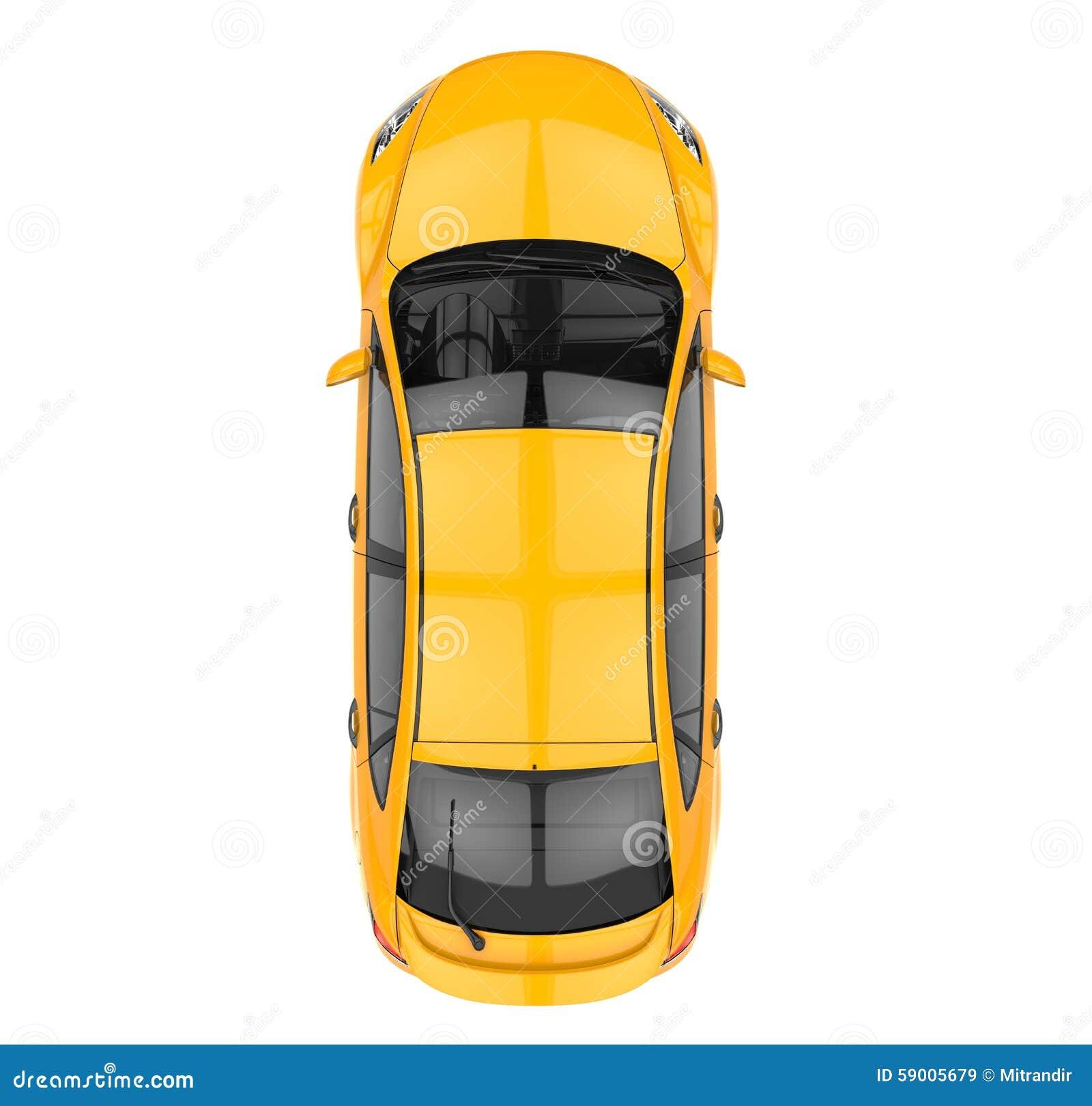Κίτρινη τοπ άποψη αυτοκινήτων