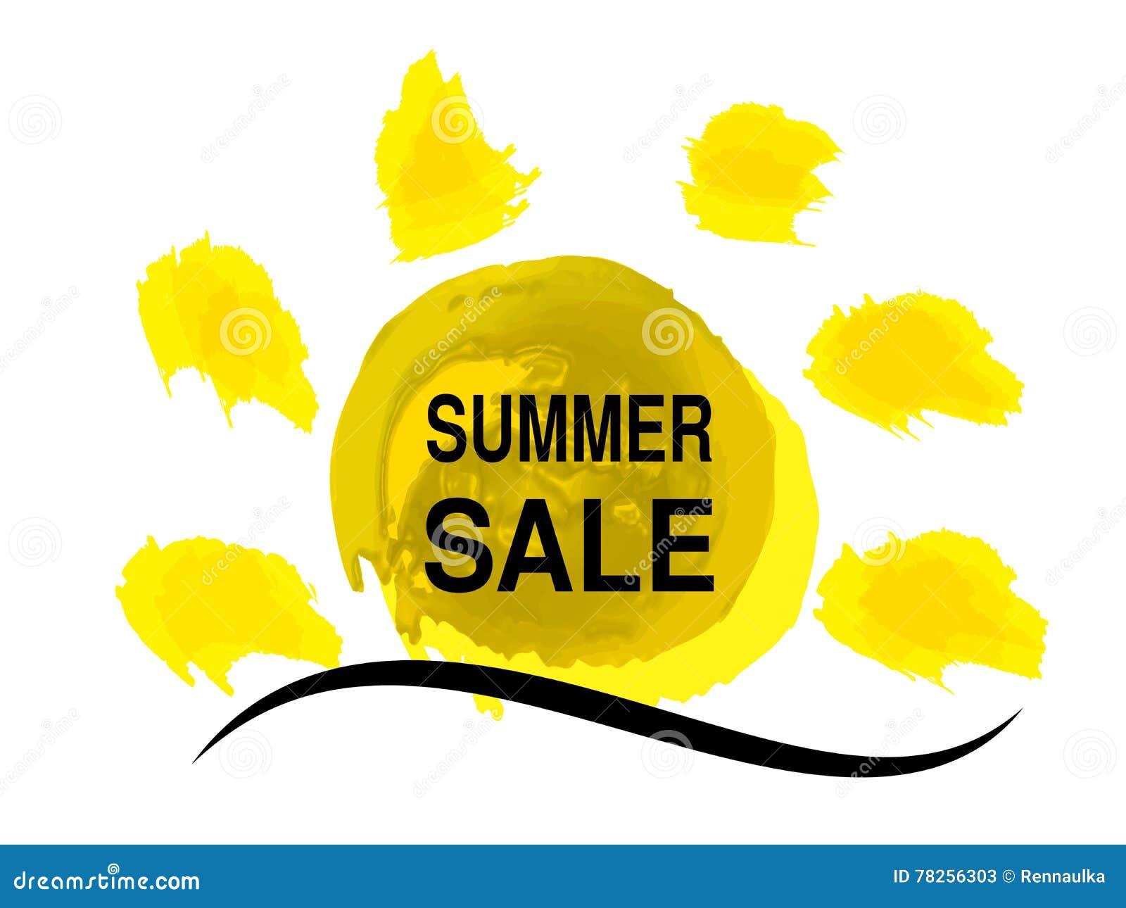Κίτρινος ήλιος ηλιοφάνειας με το κύμα θάλασσας Σύμβολο ήλιων Watercolor grunge Ετικέτα θερινής προσφοράς Σύμβολο πώλησης