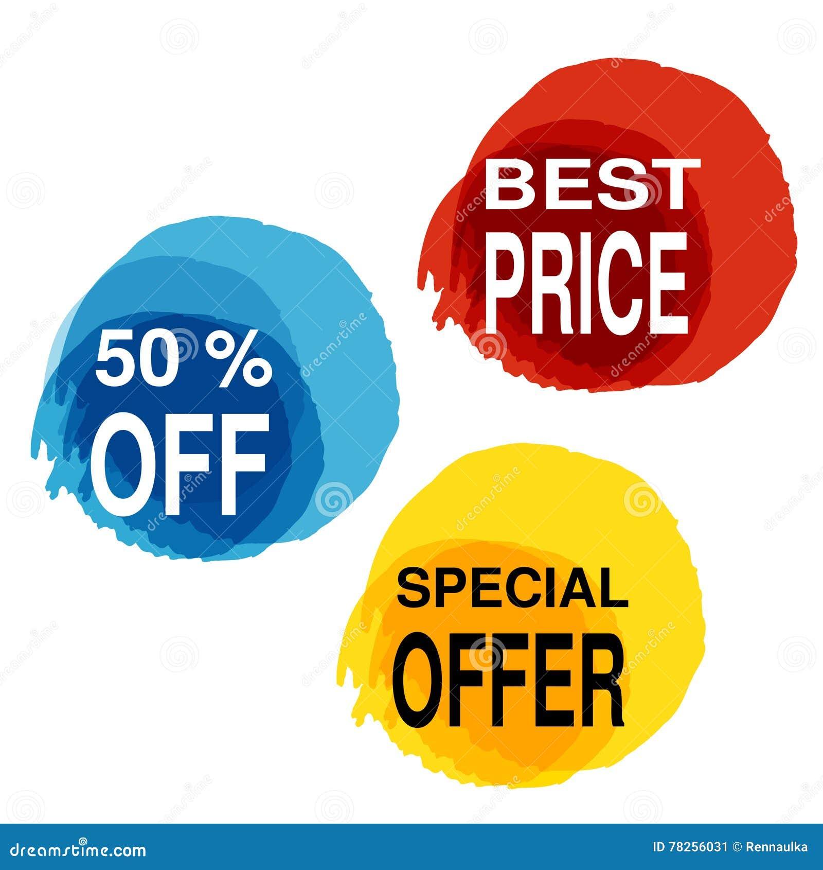 Κίτρινος, μπλε και κόκκινος λεκές με το επιχειρησιακό κείμενο Κουμπί με 50 μακριά, καλύτερη τιμή, ειδική προσφορά