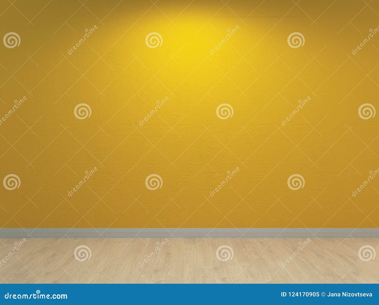 Κίτρινος τοίχος, εσωτερικό υπόβαθρο Xanthous τσιμεντένια επικονίαση και ελαφρύ ξύλινο πάτωμα