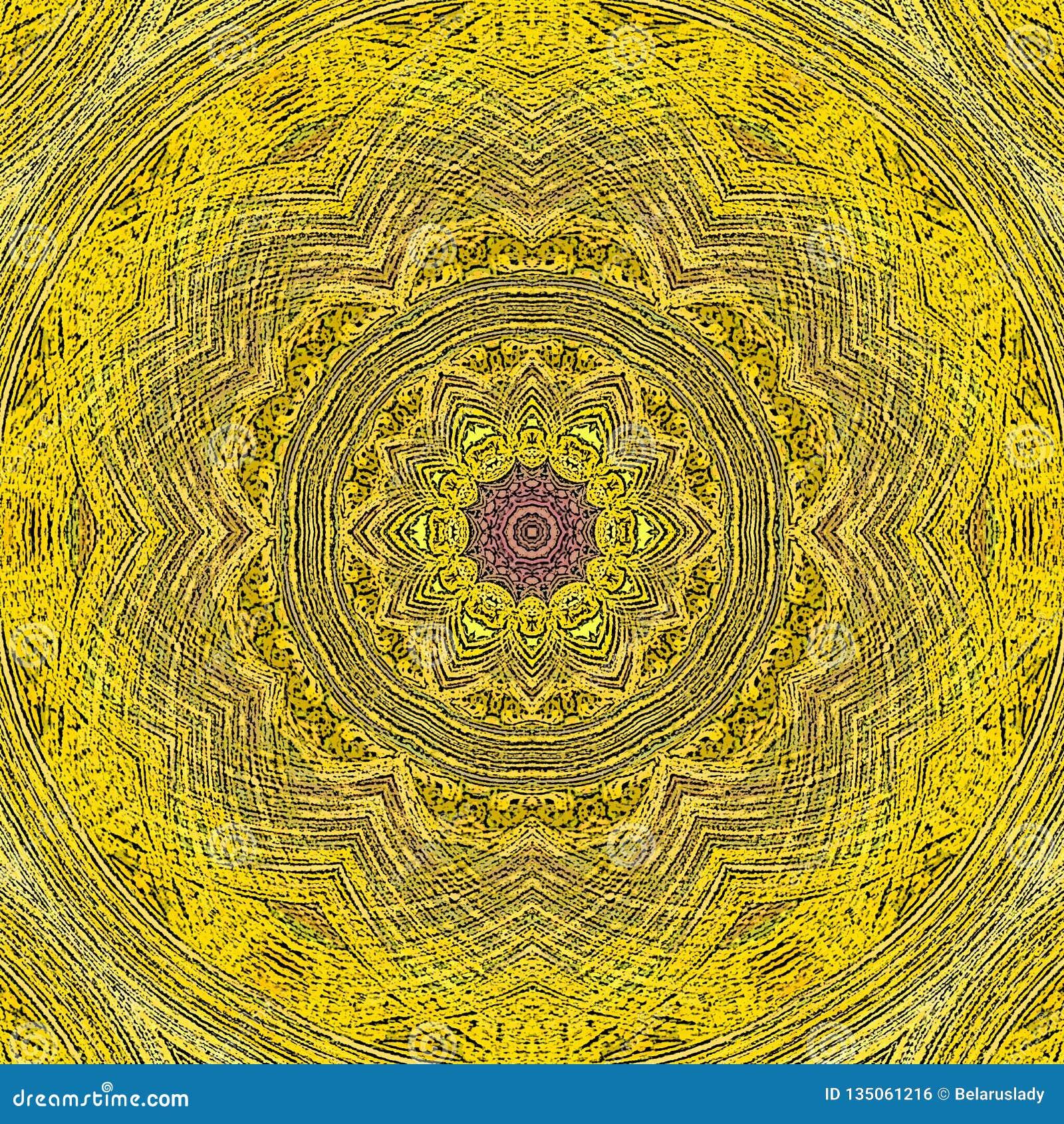 Κίτρινο εκλεκτής ποιότητας mandala κεραμιδιών με τα γεωμετρικά στοιχεία κύκλων