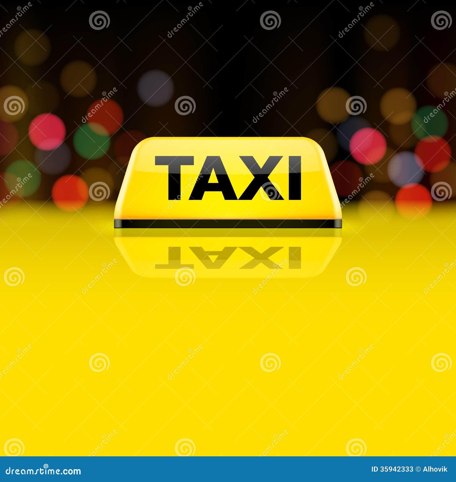 Κίτρινο σημάδι στεγών αυτοκινήτων ταξί τη νύχτα