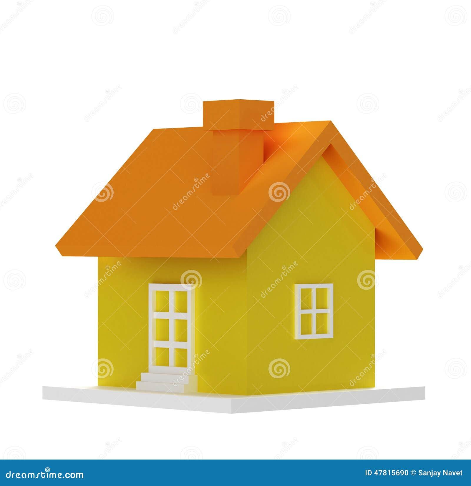 Κίτρινο τρισδιάστατο σπίτι