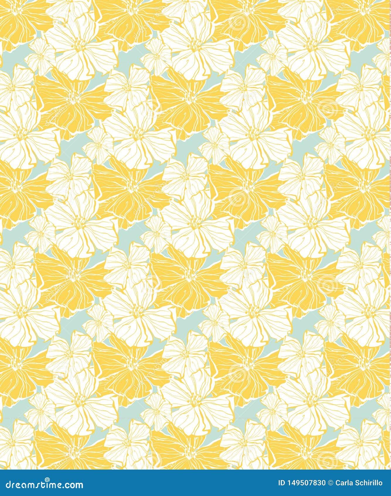 Κίτρινο τροπικό floral σχέδιο, άνευ ραφής για τα υφάσματα και την ταπετσαρία
