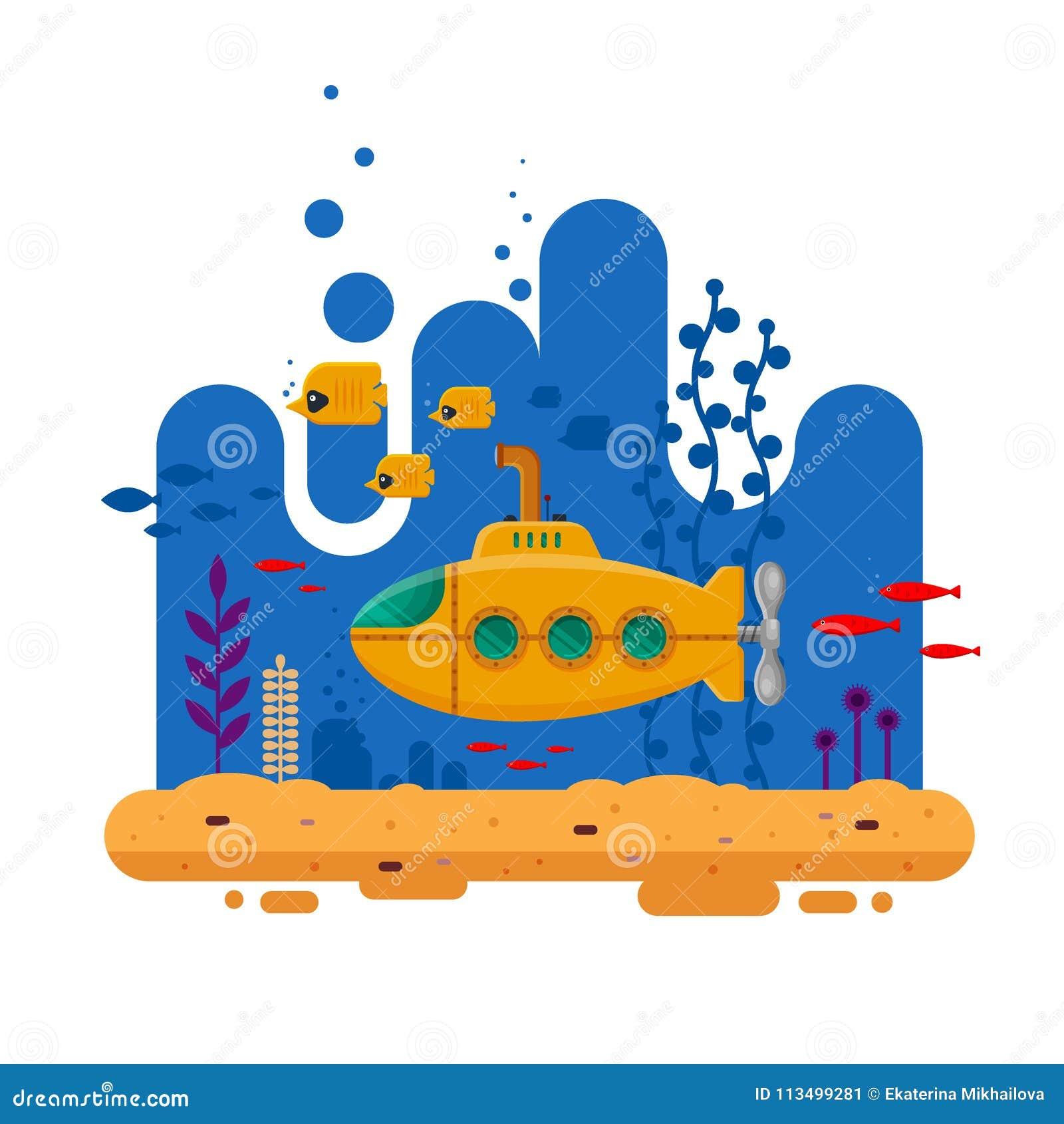 Κίτρινο υποβρύχιο με την υποβρύχια έννοια περισκοπίων Θαλάσσια ζωή με τα ψάρια, κοράλλι, φύκι, ζωηρόχρωμο μπλε ωκεάνιο τοπίο