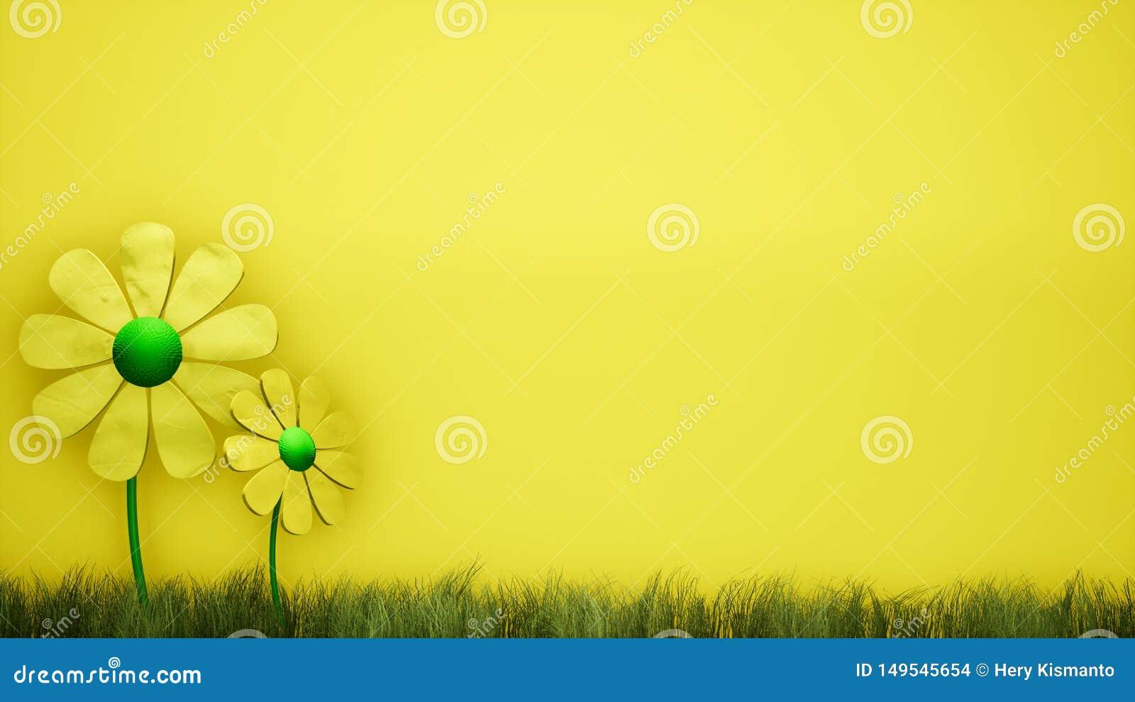 Κίτρινο υπόβαθρο απεικόνισης λουλουδιών τρισδιάστατο αφηρημένο