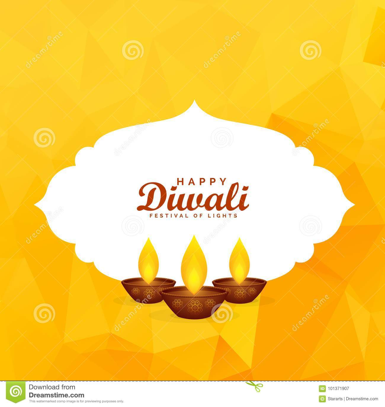 Κίτρινο υπόβαθρο χαιρετισμού φεστιβάλ diwali με το diya καψίματος