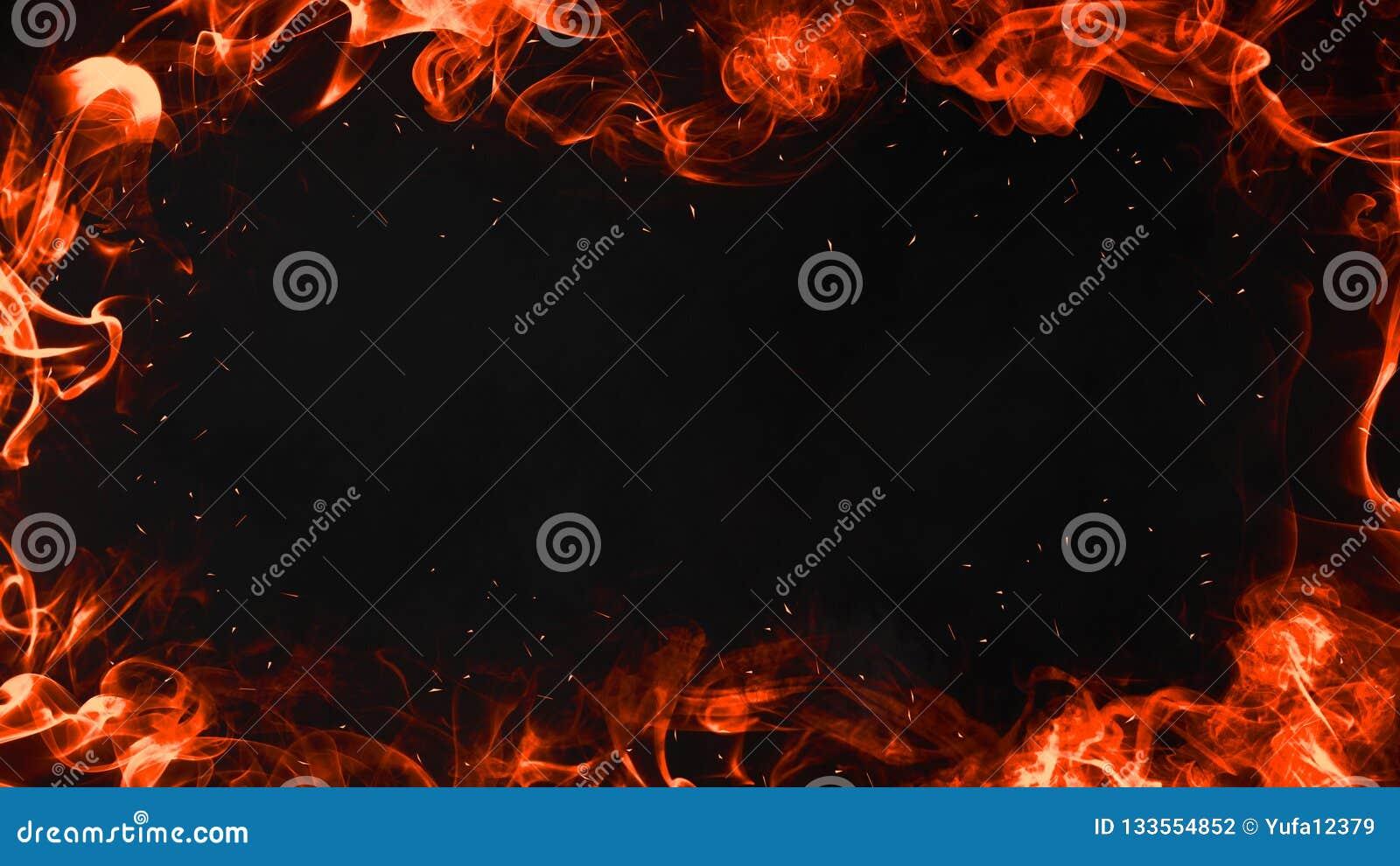 Καίγοντας περίληψη πλαισίων φλογών στο απομονωμένο μαύρο υπόβαθρο συνόρων