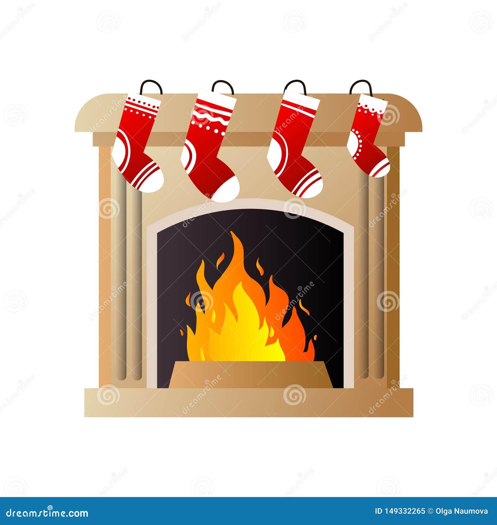 Καίγοντας πυρκαγιά στην καφετιά εστία πετρών με τις κόκκινες κάλτσες Χριστουγέννων