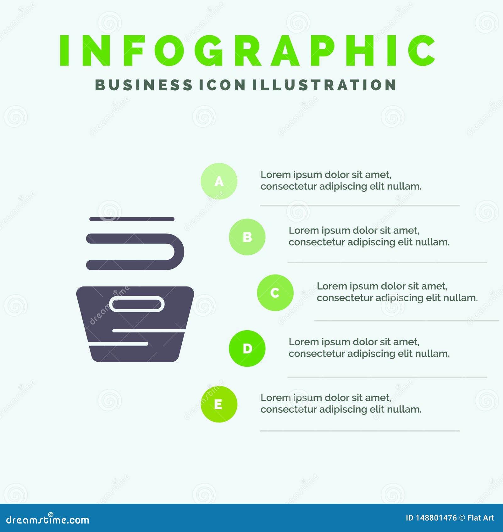 Καθαρισμός, ενδύματα, οικοκυρική, πλένοντας στερεό εικονίδιο Infographics 5 υπόβαθρο παρουσίασης βημάτων
