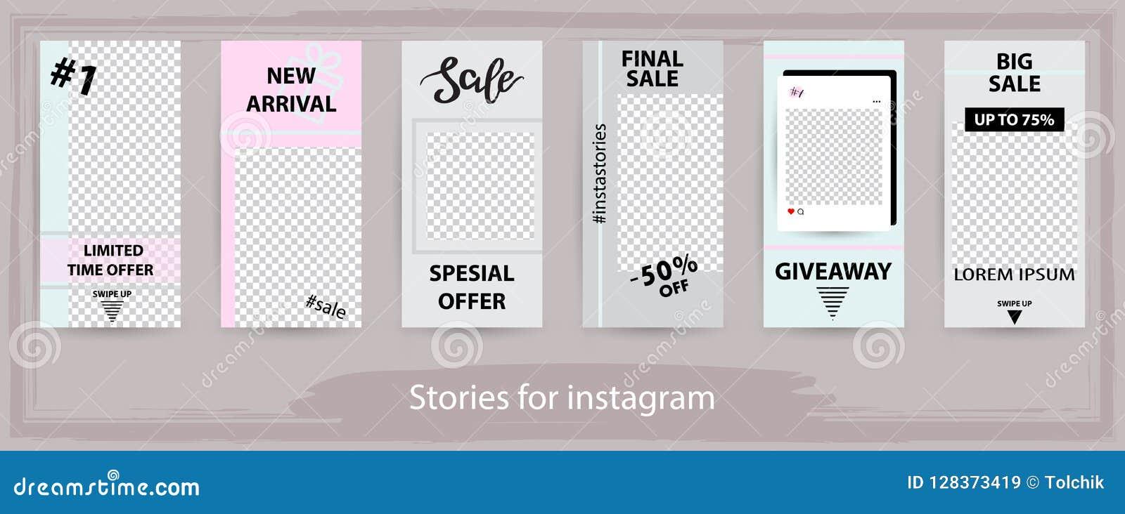 Καθιερώνοντα τη μόδα editable πρότυπα για τις ιστορίες instagram, πώληση, διάνυσμα ι