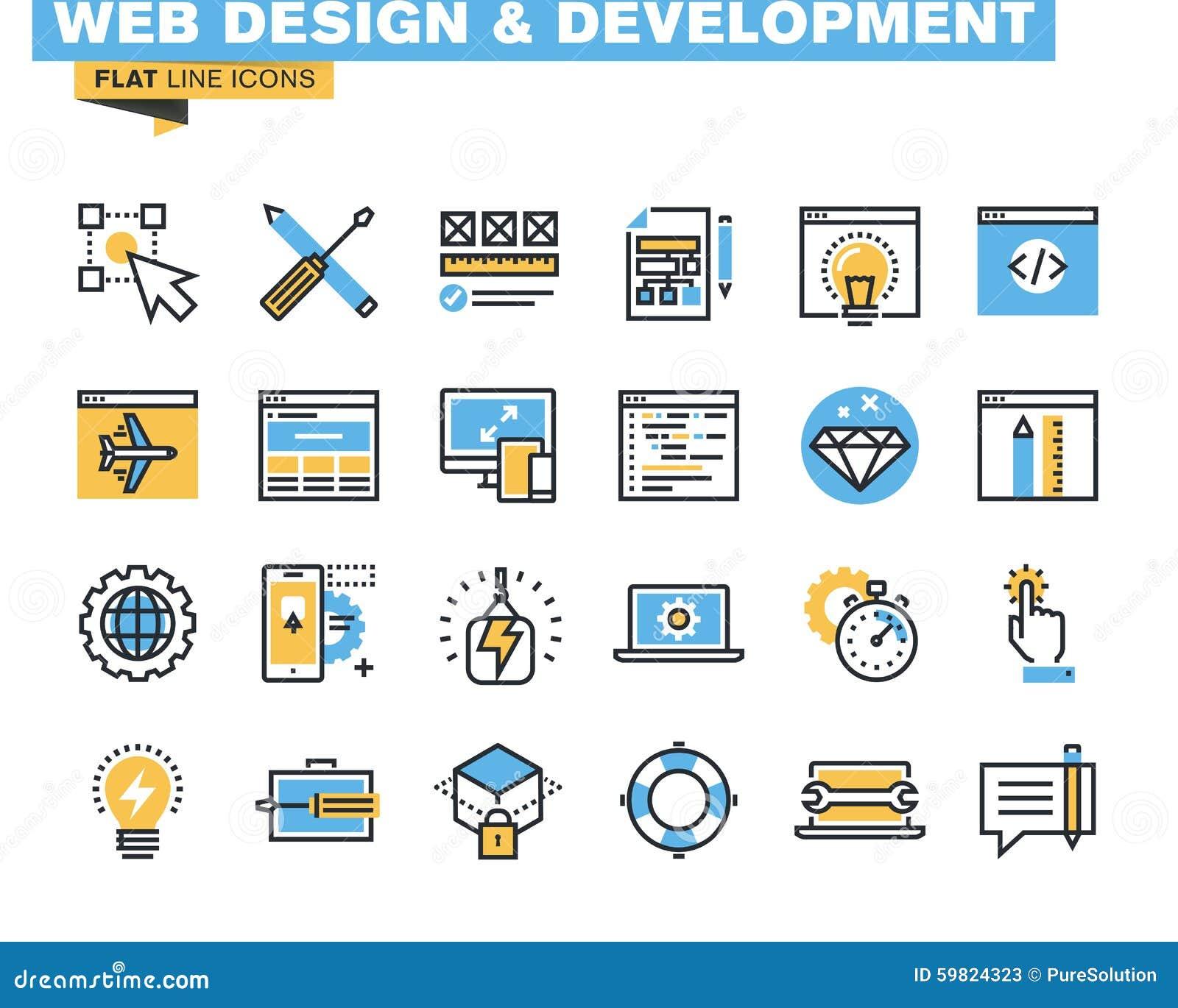 Καθιερώνον τη μόδα επίπεδο πακέτο εικονιδίων γραμμών για τους σχεδιαστές και τους υπεύθυνους για την ανάπτυξη