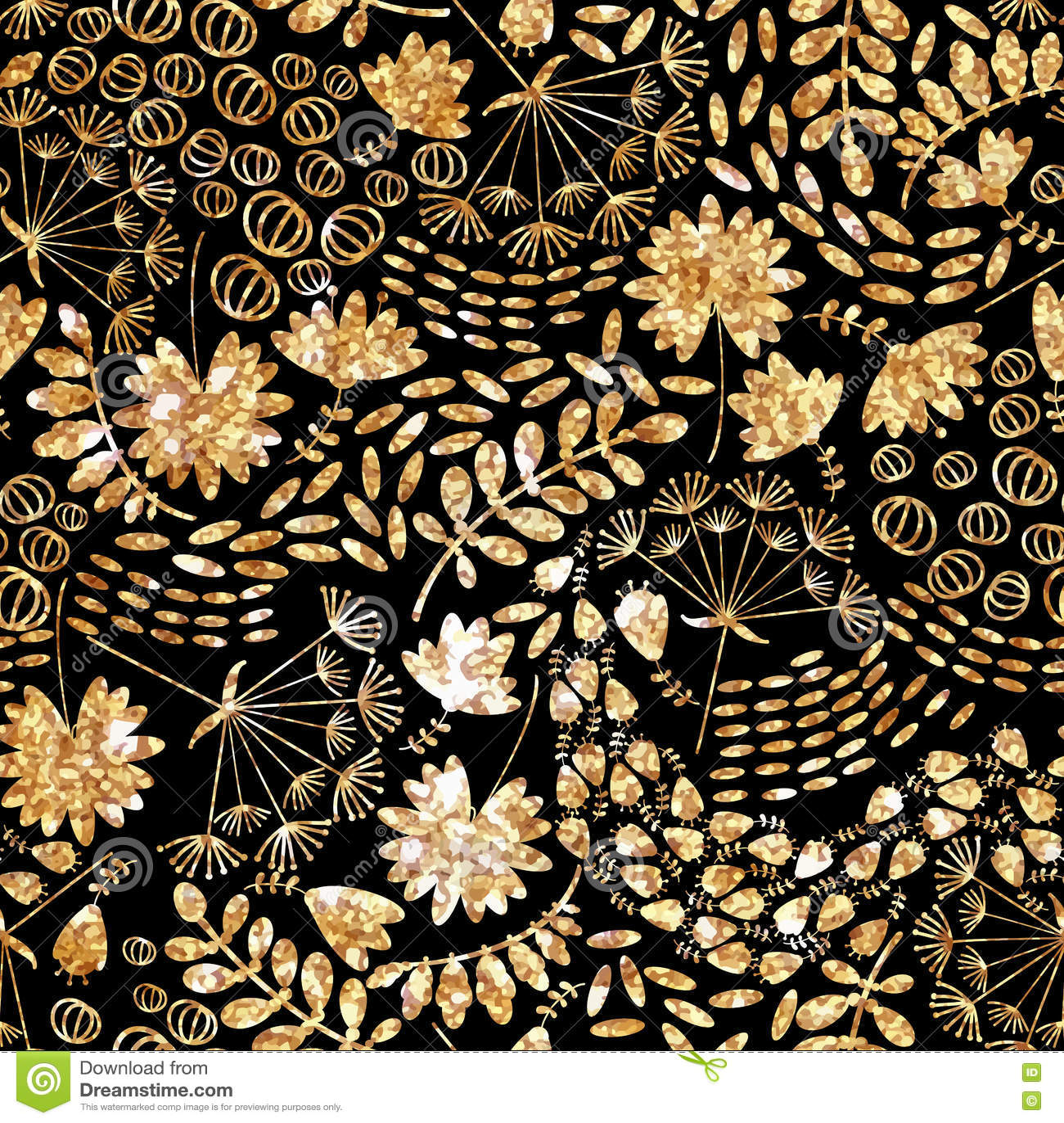 Καθιερώνουσα τη μόδα χρυσή σύσταση Διανυσματικό χρυσό άνευ ραφής σχέδιο, floral σύσταση με τα λουλούδια και τις εγκαταστάσεις