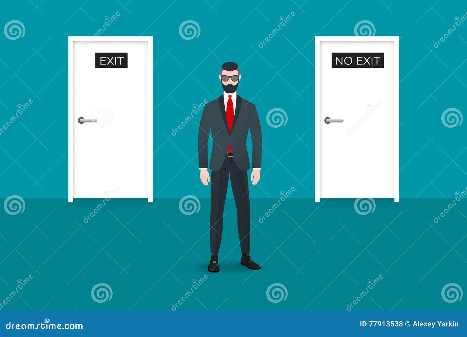 Καθιερώνων τη μόδα πεζός nerd hipster που αντιμετωπίζει το θεατή Υπάρχουν δύο πόρτες στο υπόβαθρο Αυτός ο επιχειρηματίας συμβολίζ