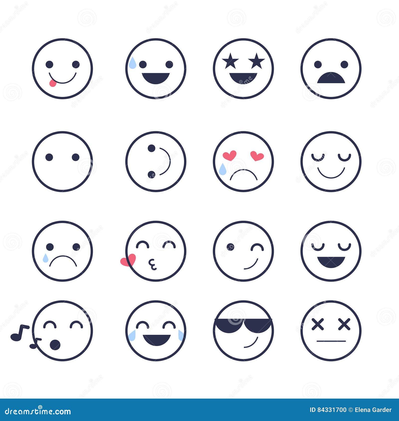 Καθορισμένα εικονίδια Smiley για τις εφαρμογές και τη συνομιλία Emoticons με τις διαφορετικές συγκινήσεις που απομονώνονται στο ά