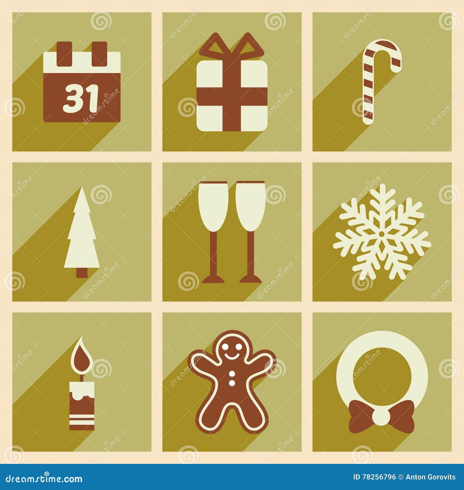 Καθορισμένα επίπεδα εικονίδια με τα μακριά Χριστούγεννα σκιών και το νέο έτος