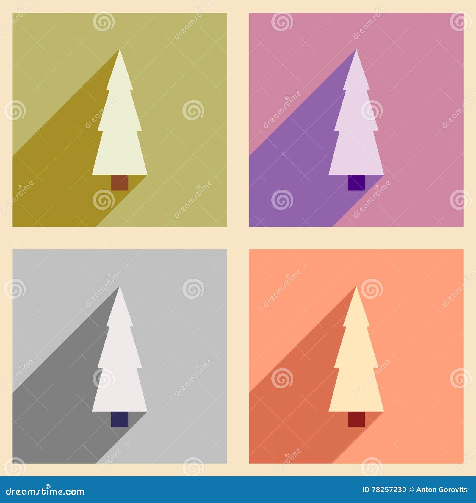 Καθορισμένα επίπεδα εικονίδια με το μακρύ χριστουγεννιάτικο δέντρο σκιών