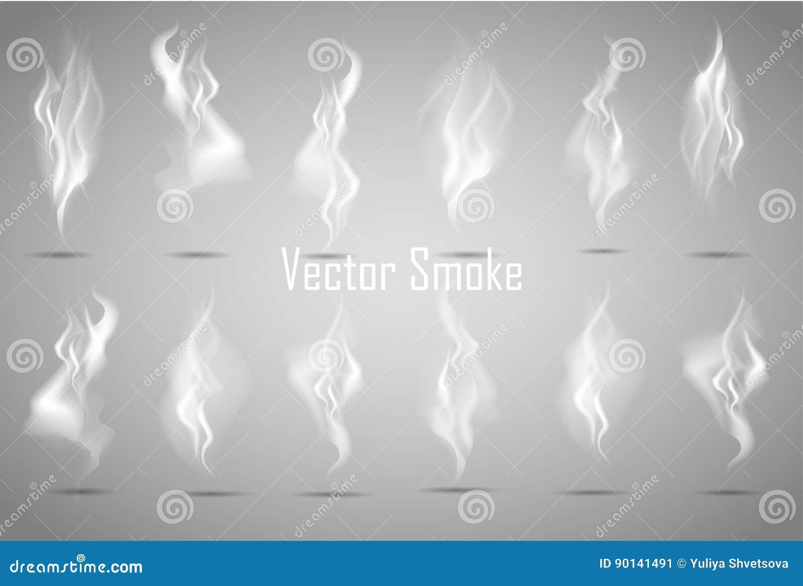 Καθορισμένα λεπτά άσπρα κύματα καπνού τσιγάρων στη διαφανή διανυσματική απεικόνιση υποβάθρου