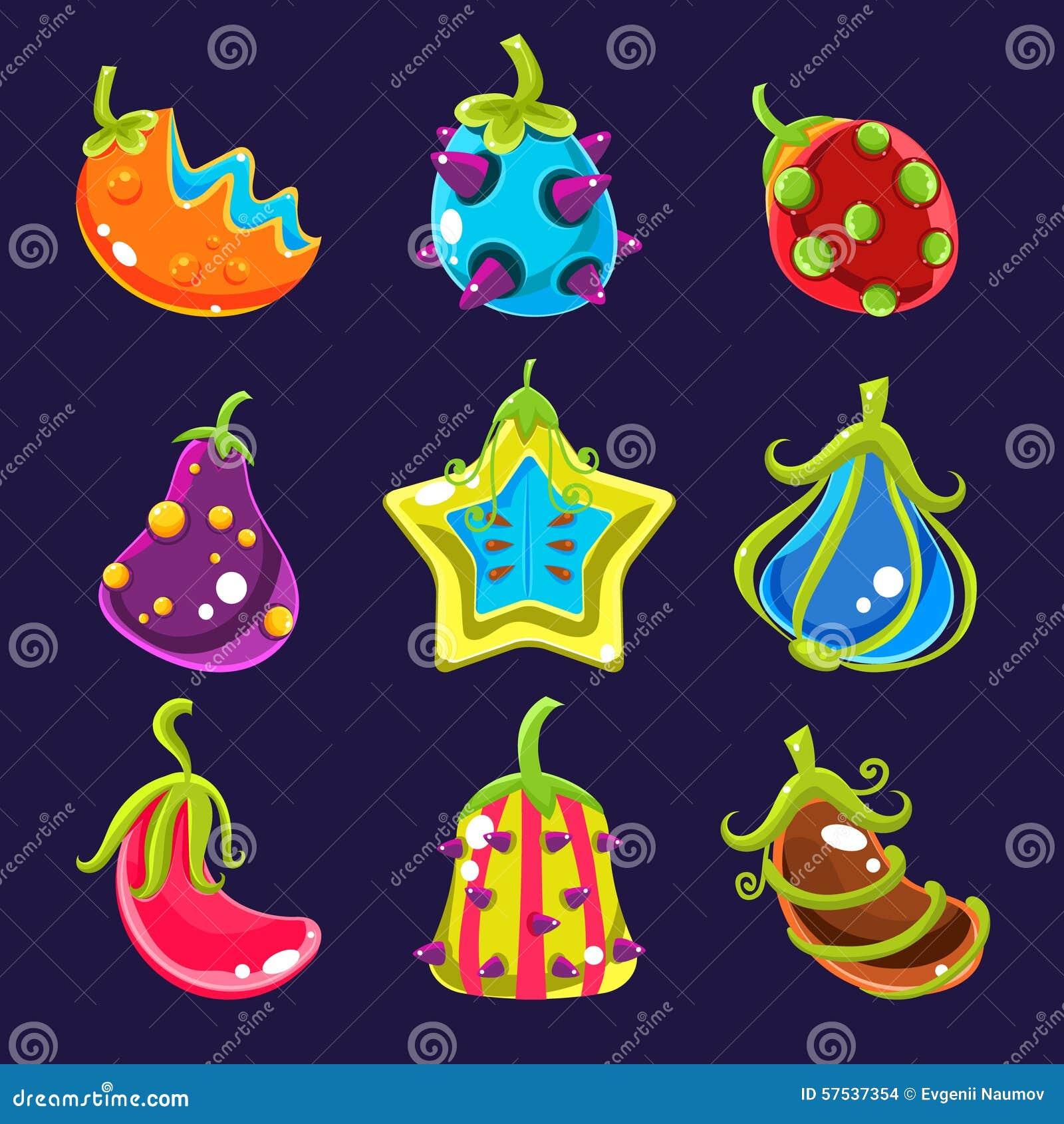 Καθορισμένα ζωηρόχρωμα φρούτα φαντασίας, διανυσματική απεικόνιση