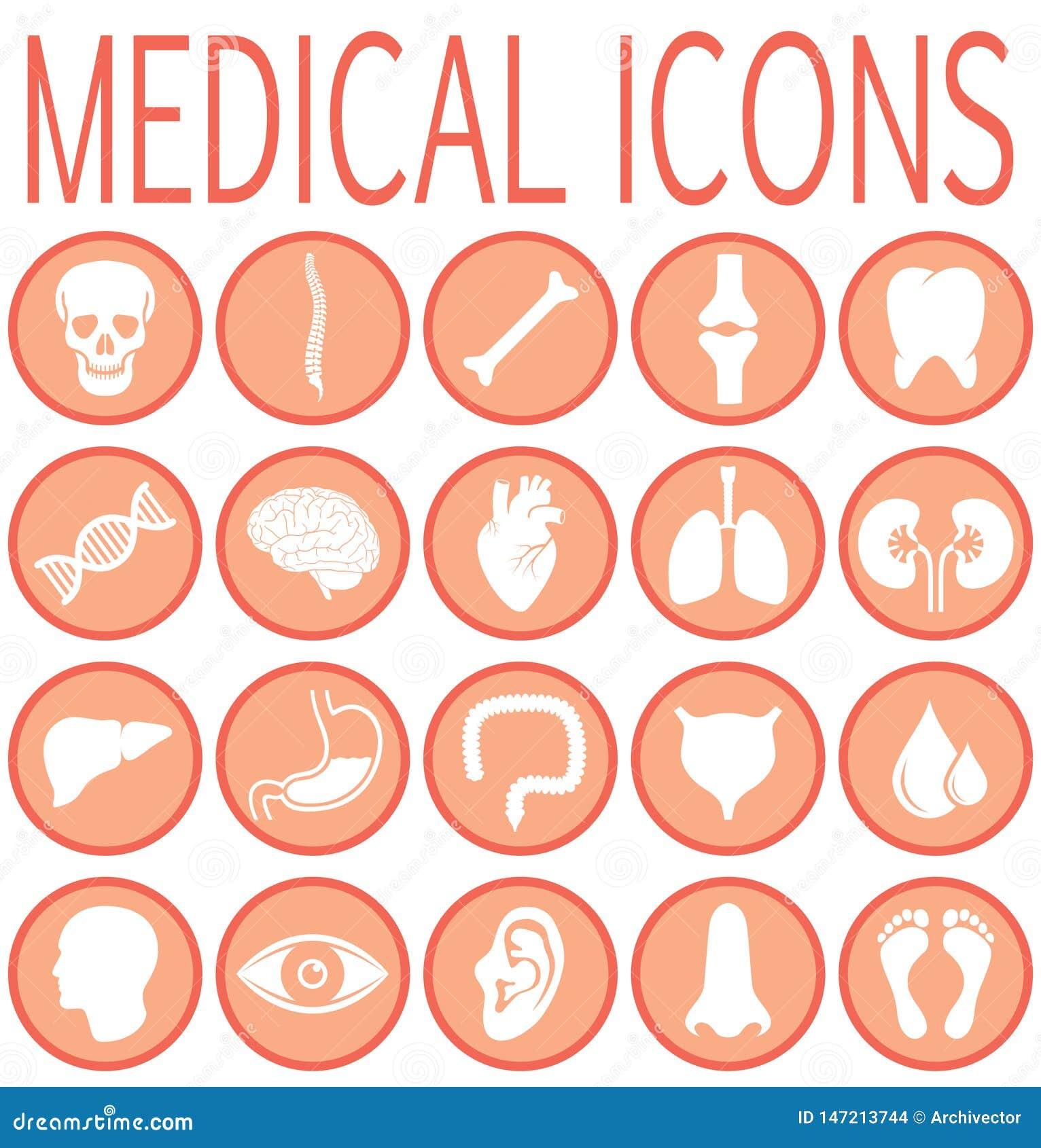 Καθορισμένα ιατρικά στρογγυλά εικονίδια