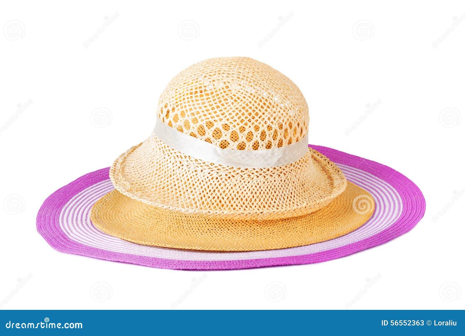 Download Καθορισμένα καπέλα θερινού αχύρου που απομονώνονται Στοκ Εικόνα - εικόνα από διακοσμημένος, hatband: 56552363