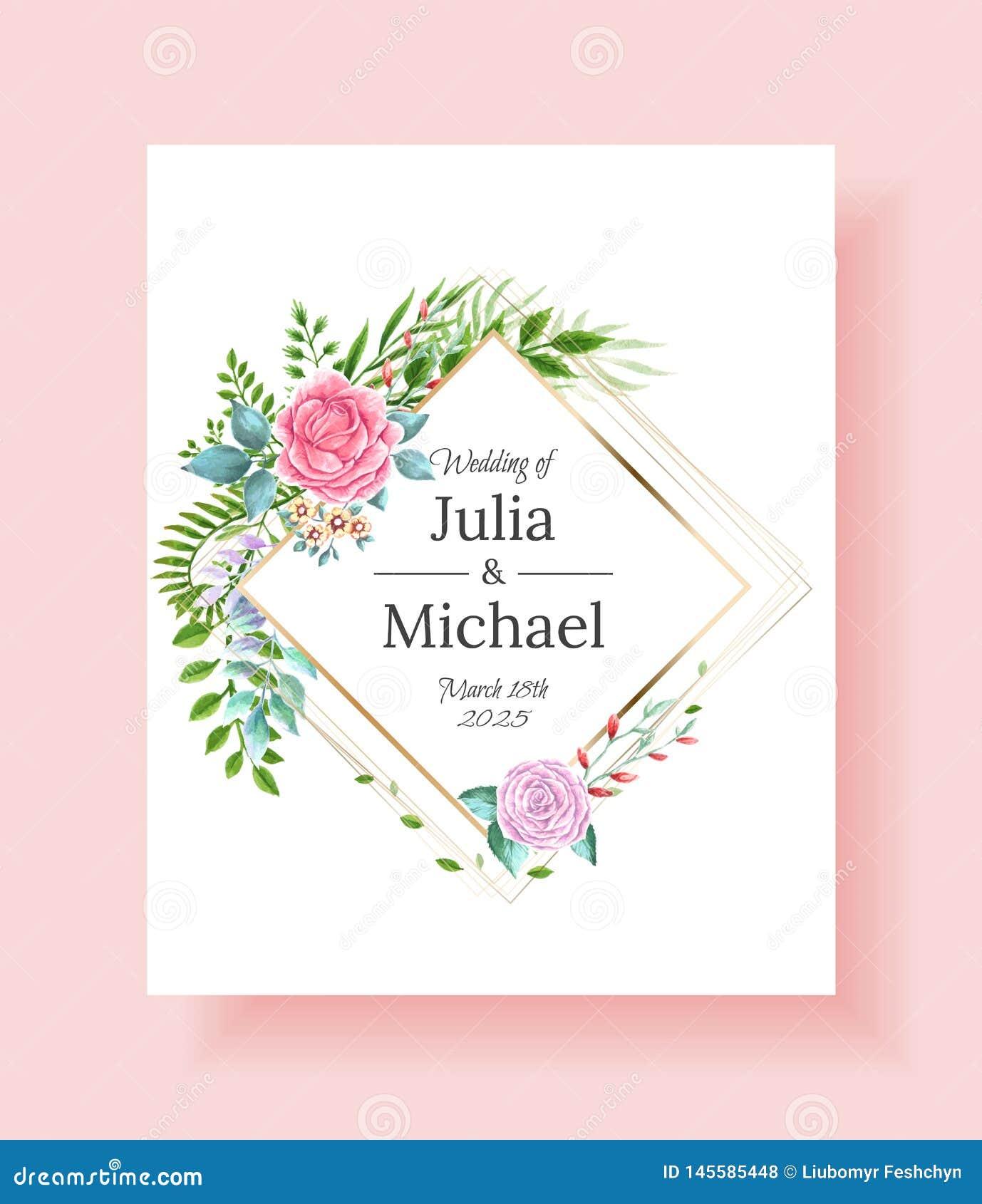 Καθορισμένα λουλούδια πλαισίων γαμήλιας πρόσκλησης, φύλλα, watercolor, που απομονώνεται στο λευκό Σκιαγραφημένη floral και χορταρ