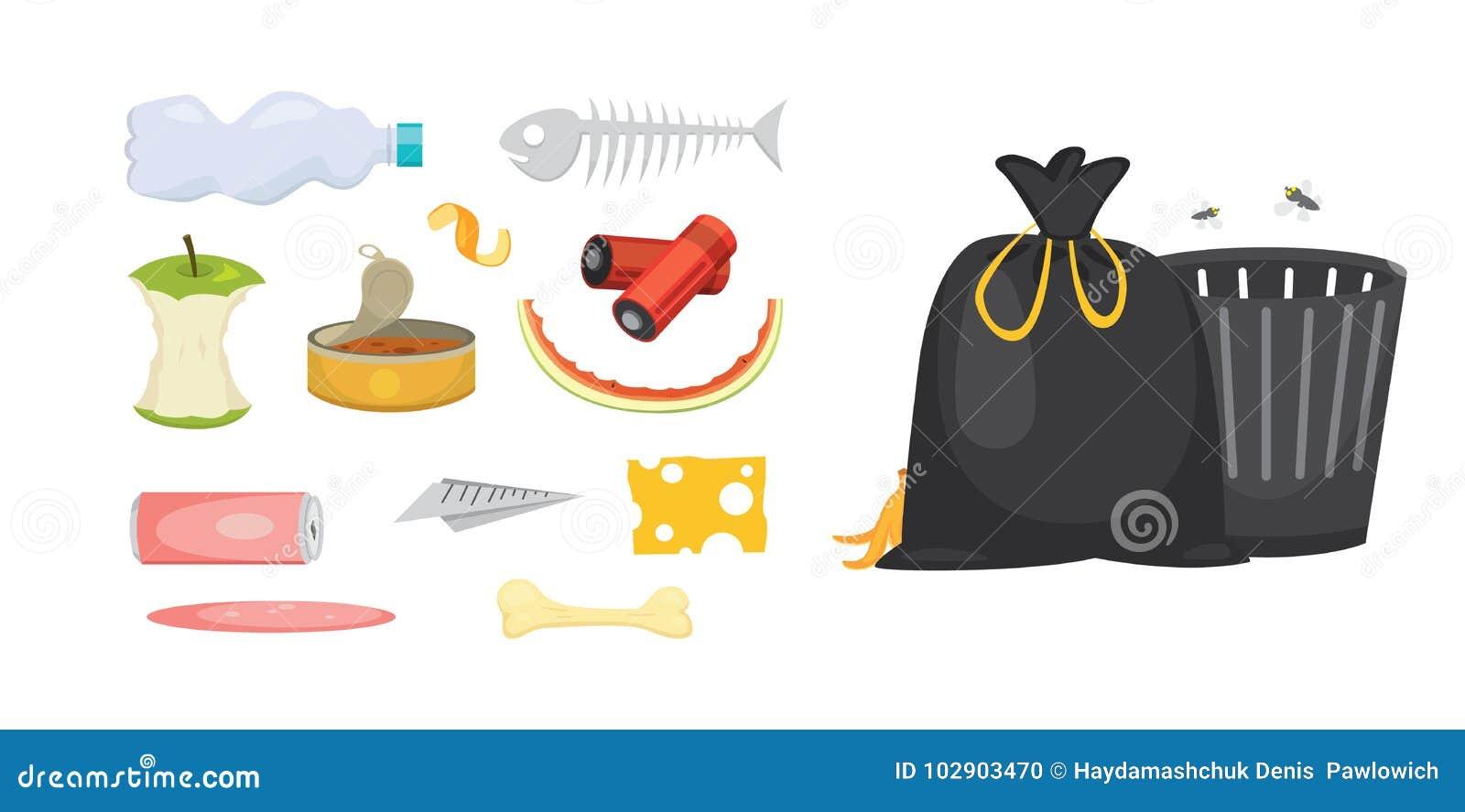 Καθορισμένες απεικονίσεις απορριμμάτων και απορριμάτων στο ύφος κινούμενων σχεδίων