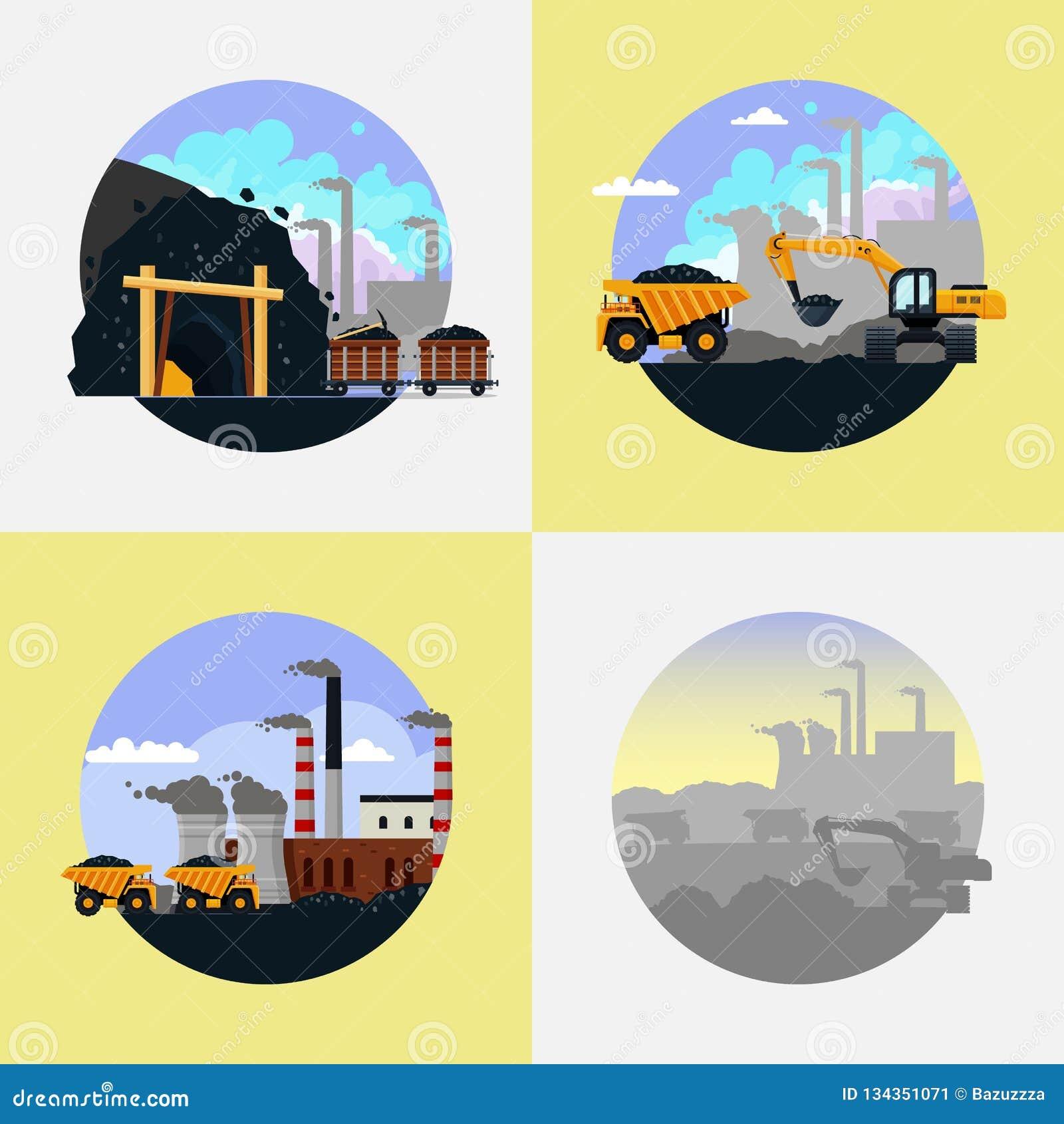 Καθορισμένη διανυσματική επίπεδη απεικόνιση του άνθρακα βιομηχανίας