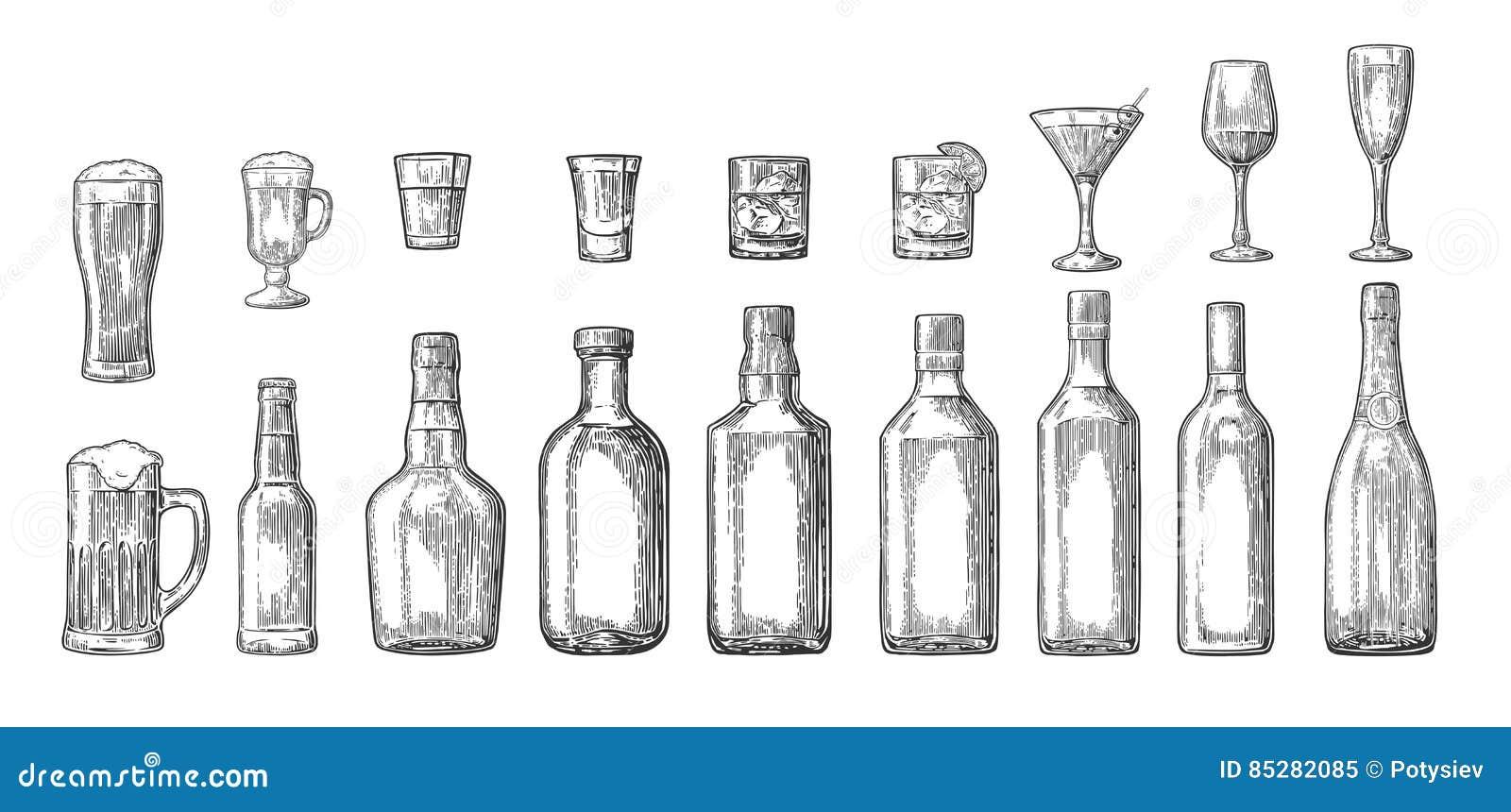 Καθορισμένη μπύρα γυαλιού και μπουκαλιών, ουίσκυ, κρασί, τζιν, ρούμι, tequila, κοκτέιλ