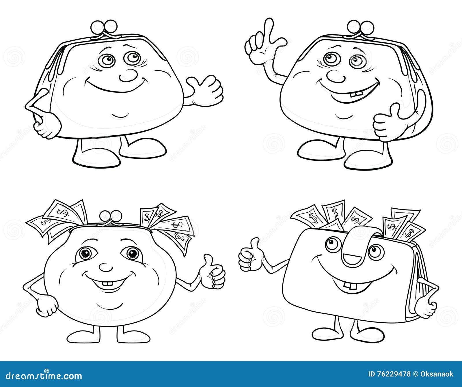 Καθορισμένη περίληψη πορτοφολιών χαμόγελου κινούμενων σχεδίων