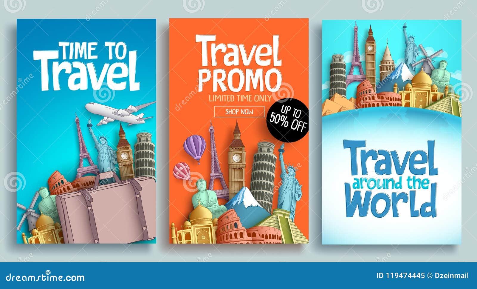 Καθορισμένο διανυσματικό σχέδιο προτύπων αφισών ταξιδιού με το κείμενο promo