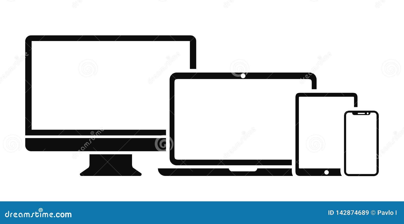 Καθορισμένο εικονίδιο συσκευών τεχνολογίας: εικονίδιο οθόνης υπολογιστών, lap-top, ταμπλετών και smartphone για την ανάπτυξη Ιστο
