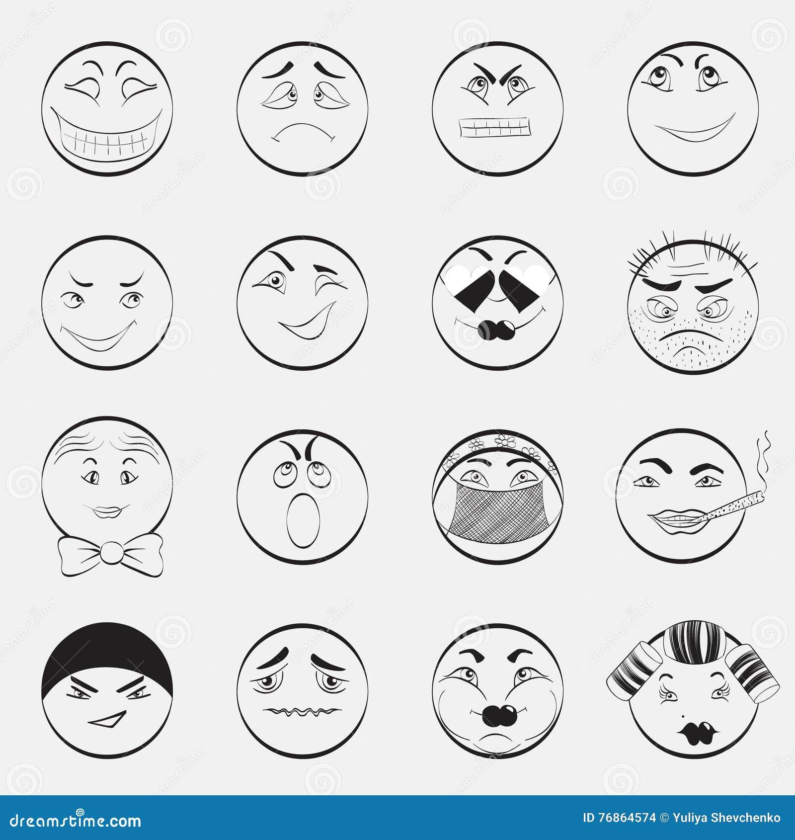 καθορισμένο διάνυσμα απεικόνισης emoticons χρωμάτων εύκολο editable