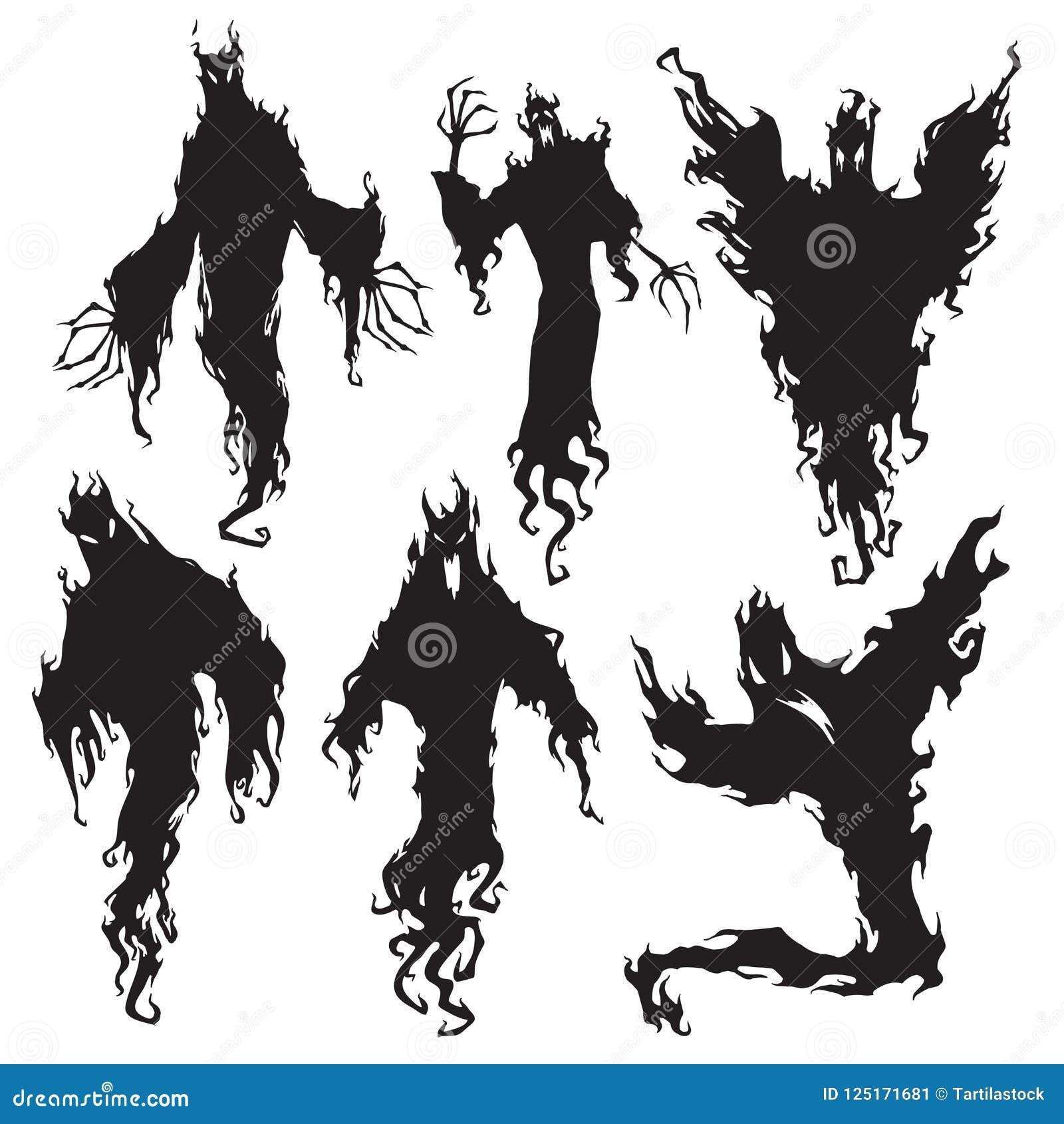 Κακή σκιαγραφία πνευμάτων Μελαχροινός διάβολος νύχτας αποκριών, δαίμονας εφιάλτη ή σκιαγραφίες φαντασμάτων Μεταφυσικό διάνυσμα πε