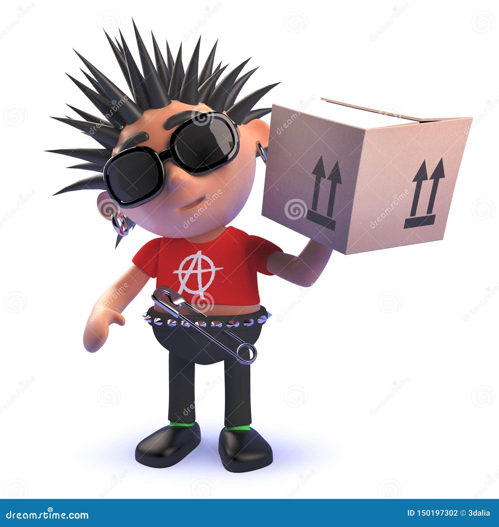 Κακοήθης πανκ rocker κινούμενων σχεδίων χαρακτήρας σε τρισδιάστατο παραδίδοντας ένα κουτί από χαρτόνι