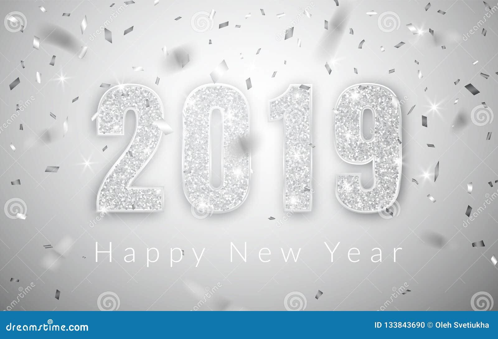 Καλή χρονιά 2019, ασημένιο σχέδιο αριθμών της ευχετήριας κάρτας, διανυσματική απεικόνιση