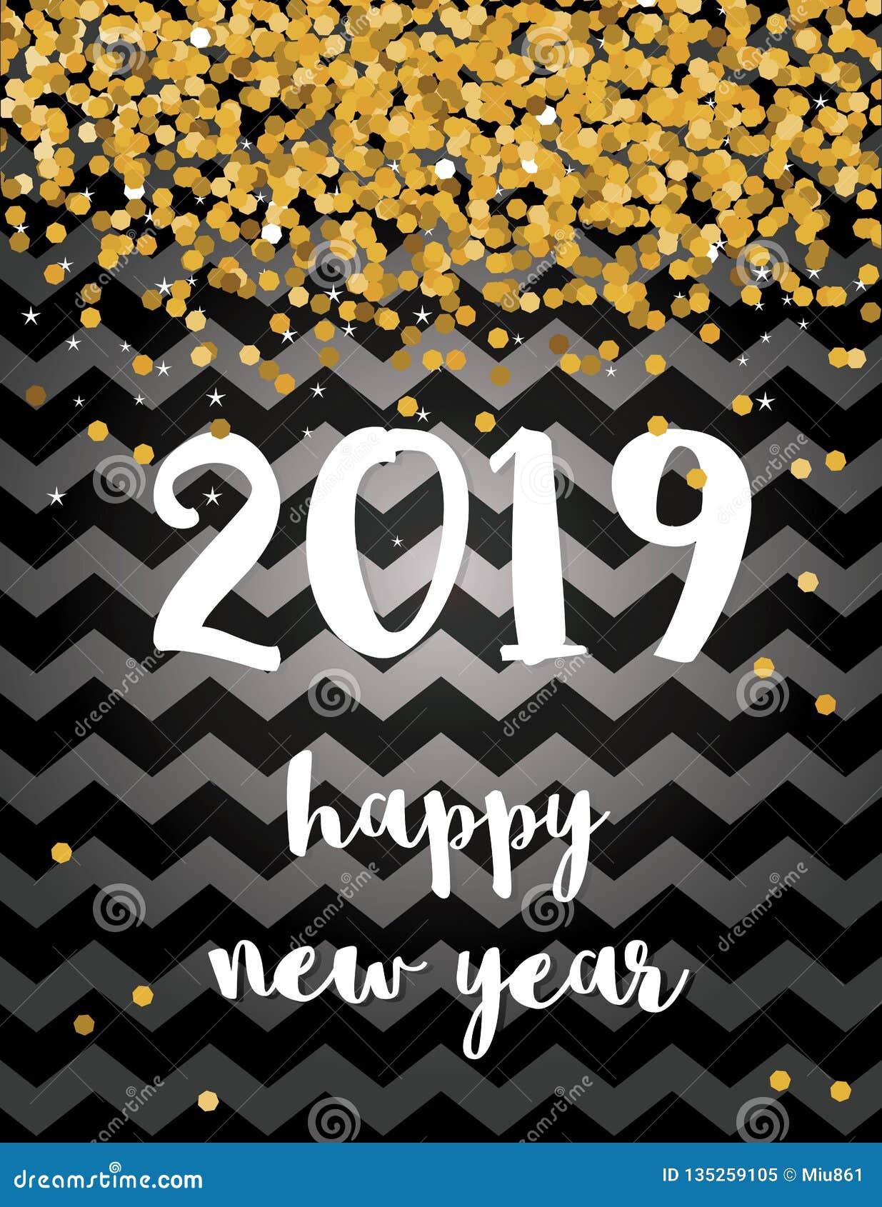 καλή χρονιά Κομψή αφηρημένη νέα διανυσματική κάρτα έτους του 2019 με το χρυσό μειωμένο κομφετί