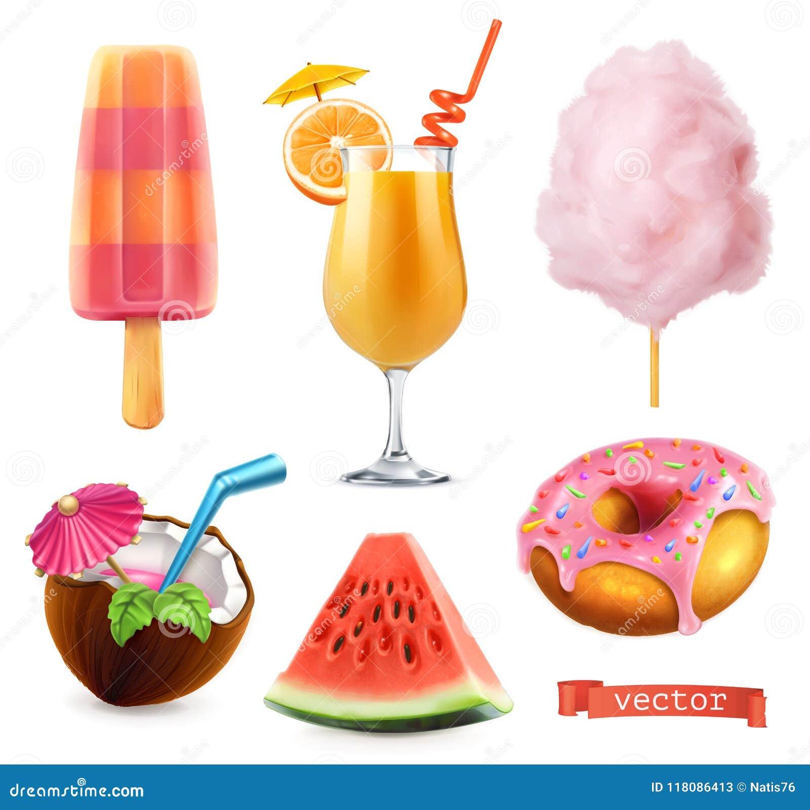 Καλοκαίρι, γλυκά τρόφιμα Παγωτό, χυμός από πορτοκάλι, καραμέλα βαμβακιού, κοκτέιλ, καρπούζι και doughnut τρισδιάστατο διανυσματικ