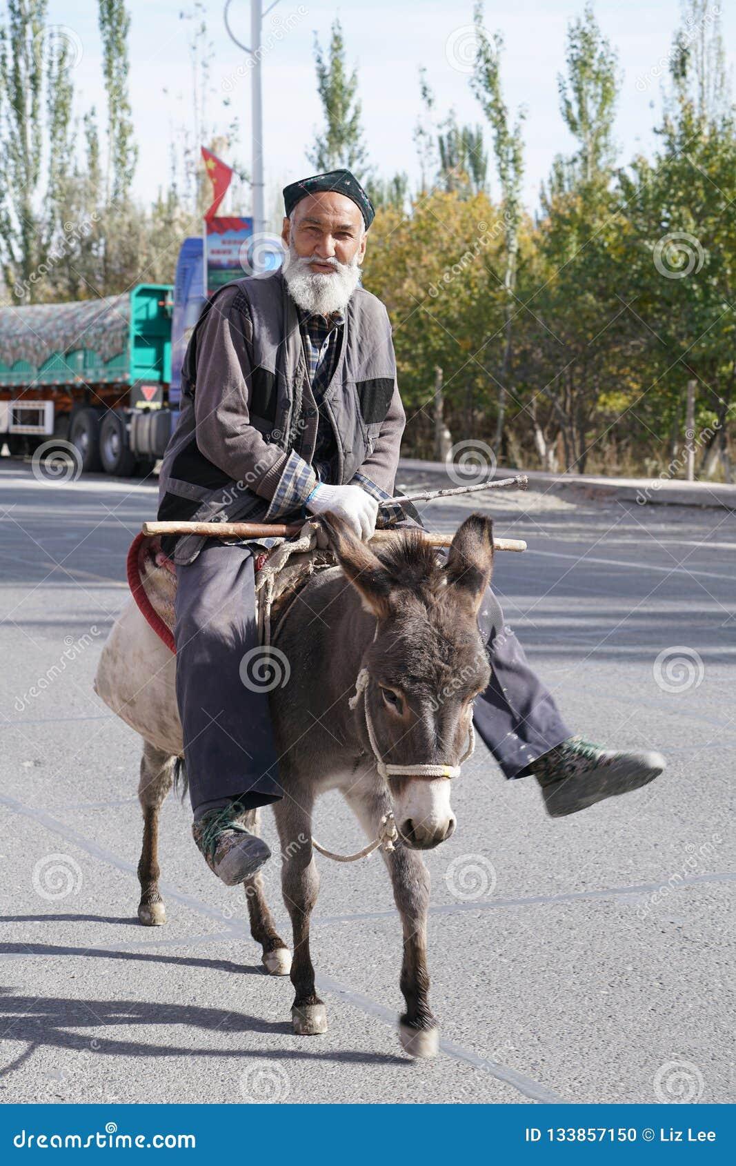 Καλός ηληκιωμένος Uygur που οδηγά ένα μικρό χαριτωμένο dongkey