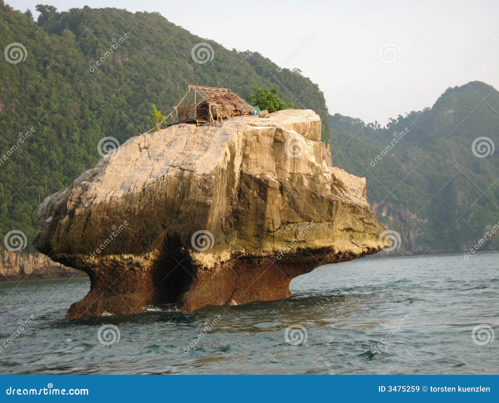 καλύβα s Ταϊλάνδη ψαράδων
