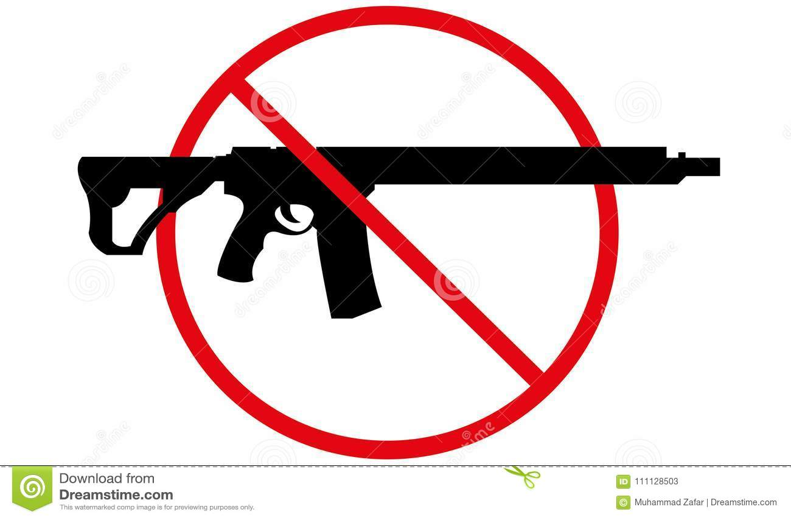 Κανένα πυροβόλο όπλο που επιτρέπεται δεν υπογράφει κανένα όπλο σύμβολο
