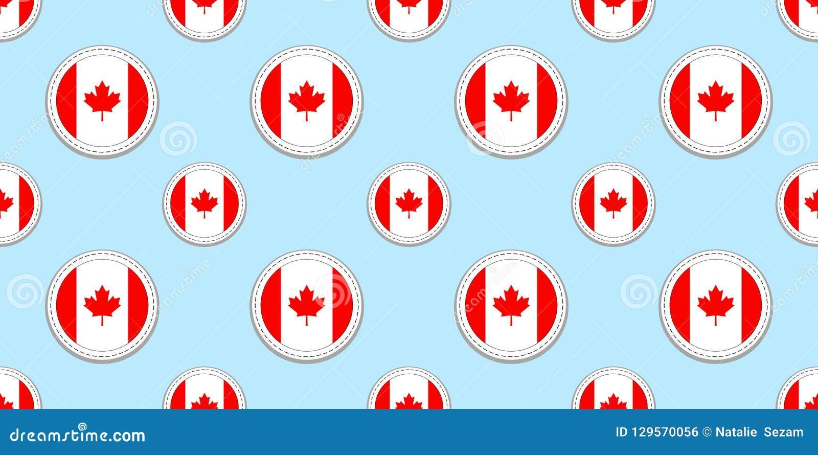 Καναδάς γύρω από το άνευ ραφής σχέδιο σημαιών Καναδικό υπόβαθρο Διανυσματικά εικονίδια κύκλων Γεωμετρικά σύμβολα Σύσταση για τον